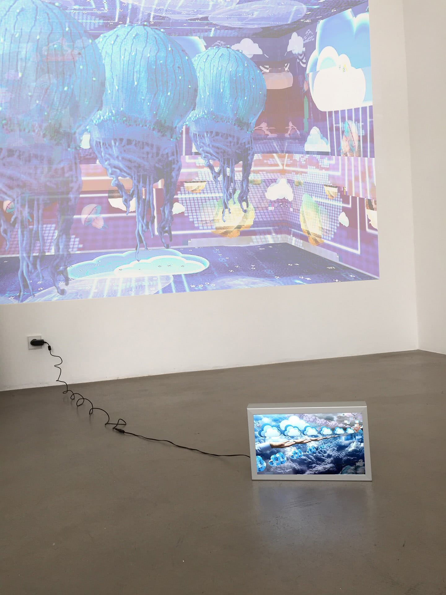 Colonise the Cloud projection and The Cloud lightbox installation view at Karin Wimmer Galerie