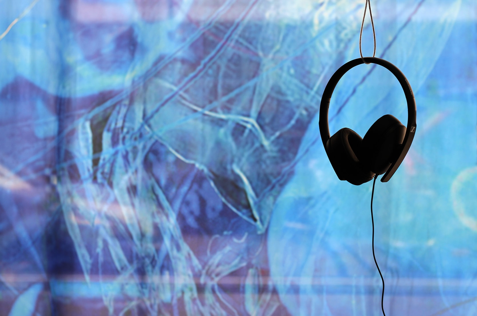 Detail from Einen Riesigen Schwarm installation, close-up of textile banner and headphones for sound installation
