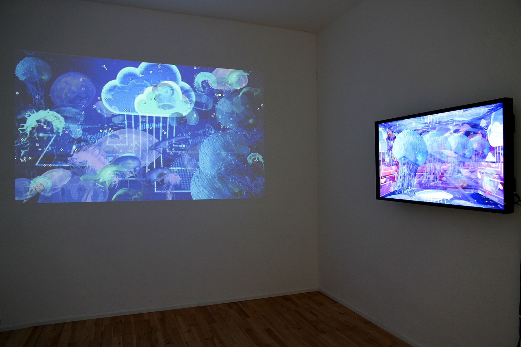 Einen Riesigen Schwarm installation - back room showing video animations from the series Colonise the Cloud